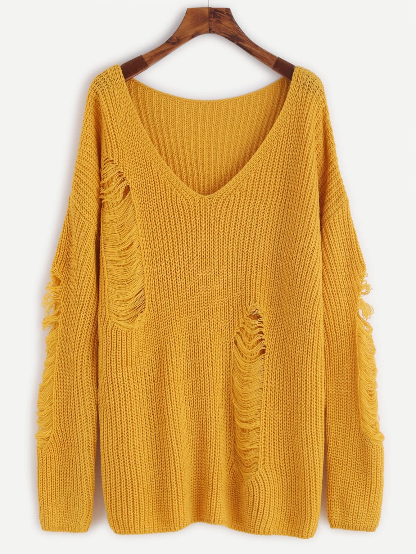 Yellow V Neck Drop Shoulder Ripped Sweater