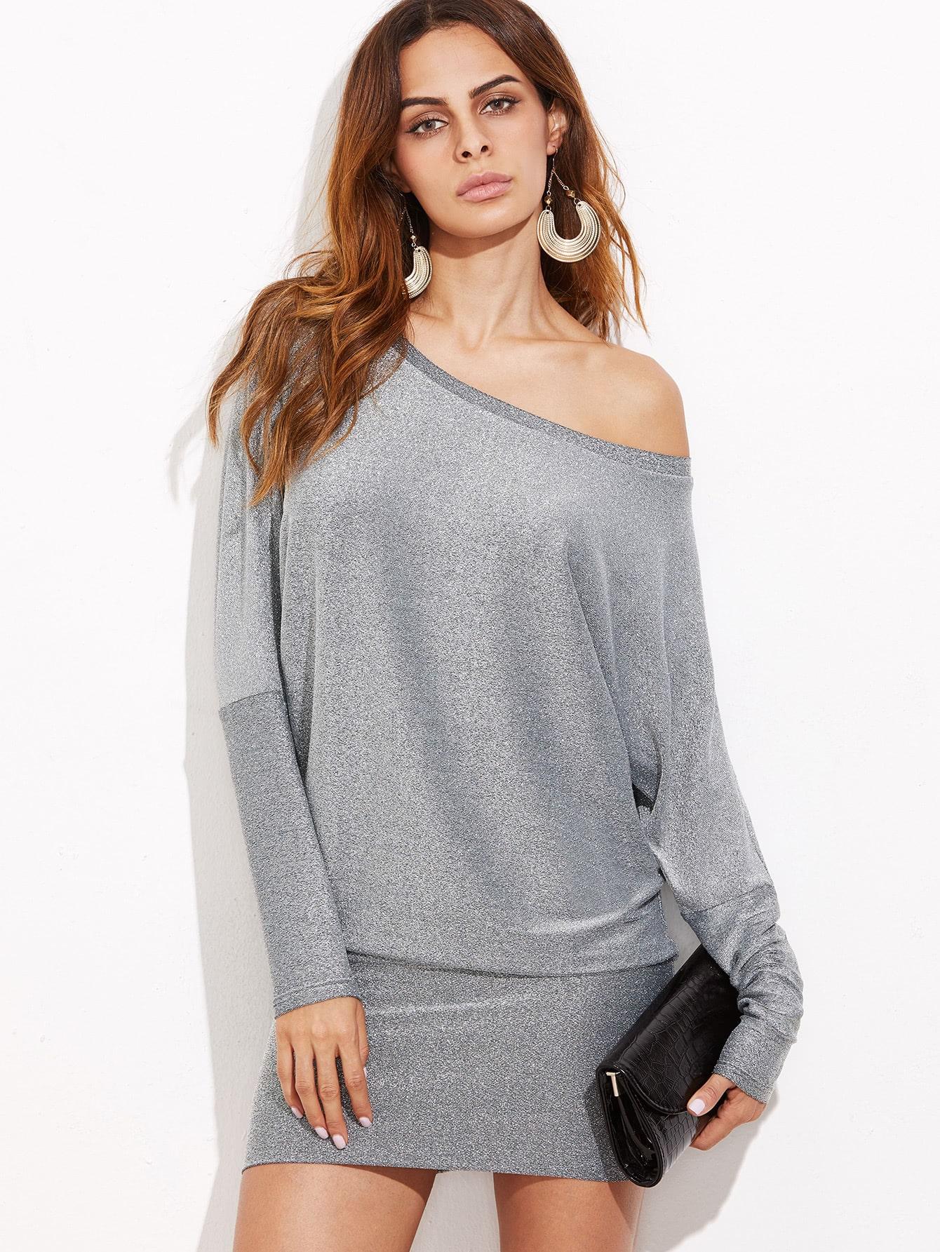 Silver Glitter Asymmetric Shoulder Banded Hem DressSilver Glitter Asymmetric Shoulder Banded Hem Dress<br><br>color: Grey<br>size: M,S,XS