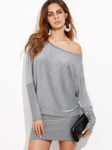 Silver Glitter Asymmetric Shoulder Banded Hem Dress