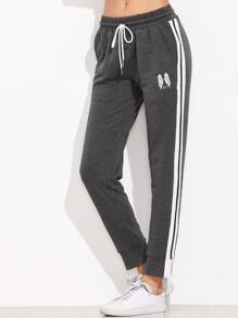 Heather Grey Wings Print Striped Sideseam Sweatpants