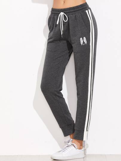 Heather Grey Wings Print Striped Sideseam Sweatpants