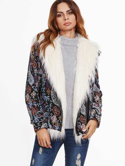 Multicolor Paisley Jacquard Faux Fur Lined Jacket