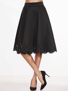 Black Laser Cut Out Zipper Back A Line Skirt