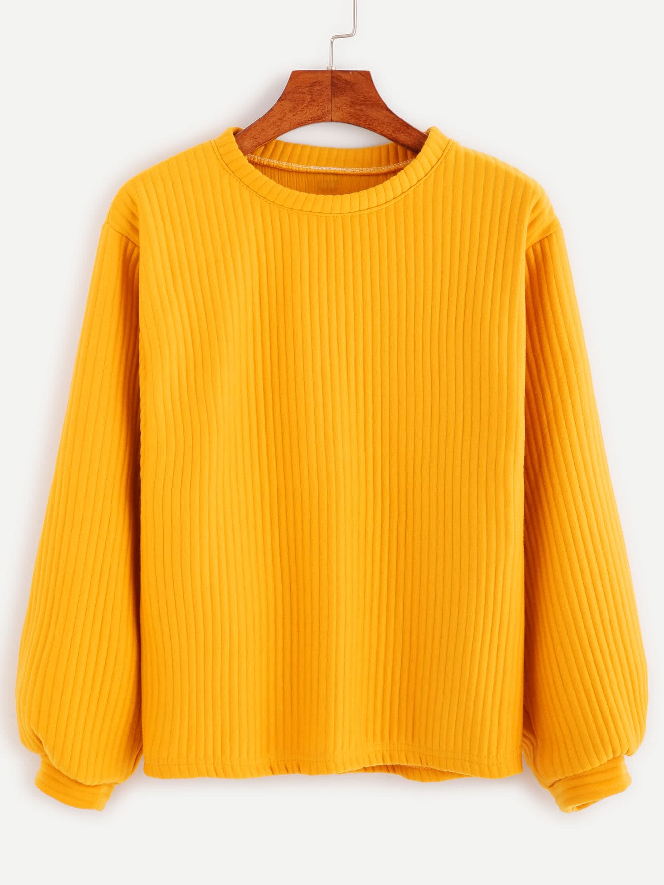 Ribbed Knit Sweatshirt -SheIn(Sheinside)