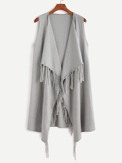 Grey Sleeveless Waterfall Fringe Cardigan