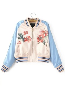 Color Block Flower Embroidery Striped Trim Jacket