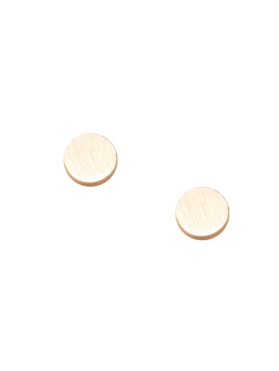 Gold Metal Geometric Round Ear Studs
