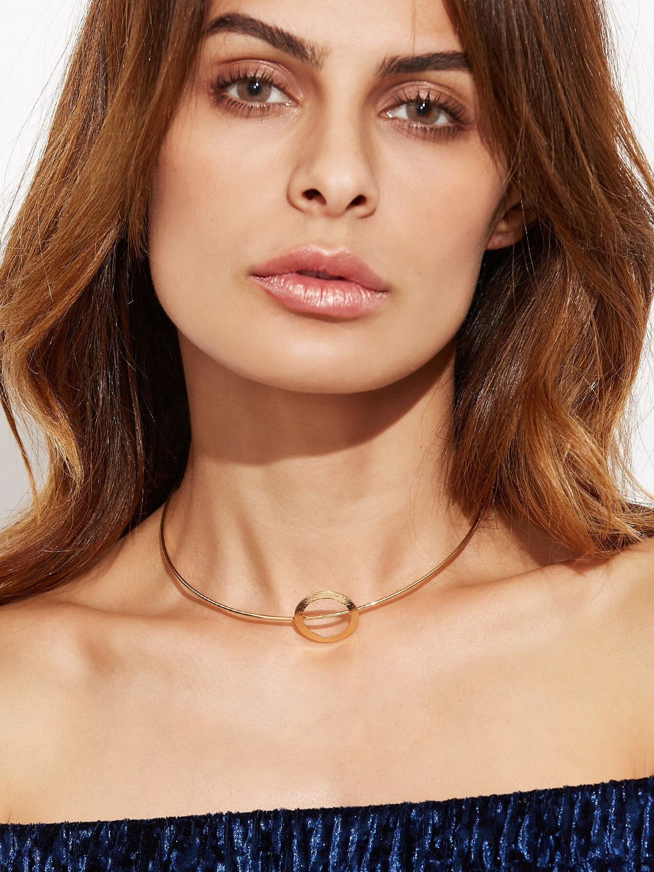 Gold Plated Geometric Hollow Out Choker Necklace
