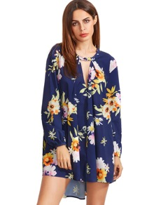 Navy Cut Out Front Floral Dress