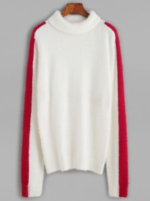 White Contrast Panel Fluffy Sweater