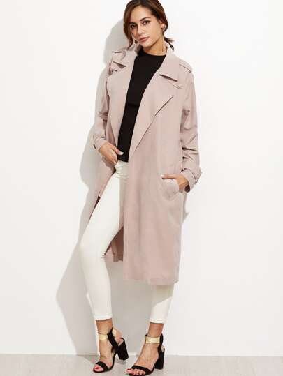 Pink Flap Back Buckle Strap Cuff Wrap Trench Coat