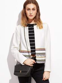 White Collarless Blazer With Embroidered Tape And Fringe Detail