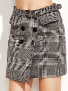 Plaid Double Breasted Skirt With Belt