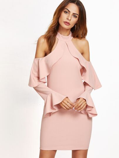 Pink Cold Shoulder Ruffle Sheath Dress