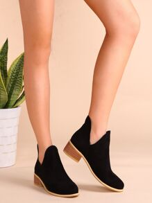 Black Faux Suede Cork Heel Ankle Booties