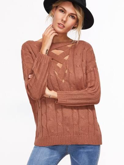 Pull tricoté en câble dos ouvert avec lacet croisé - rouille
