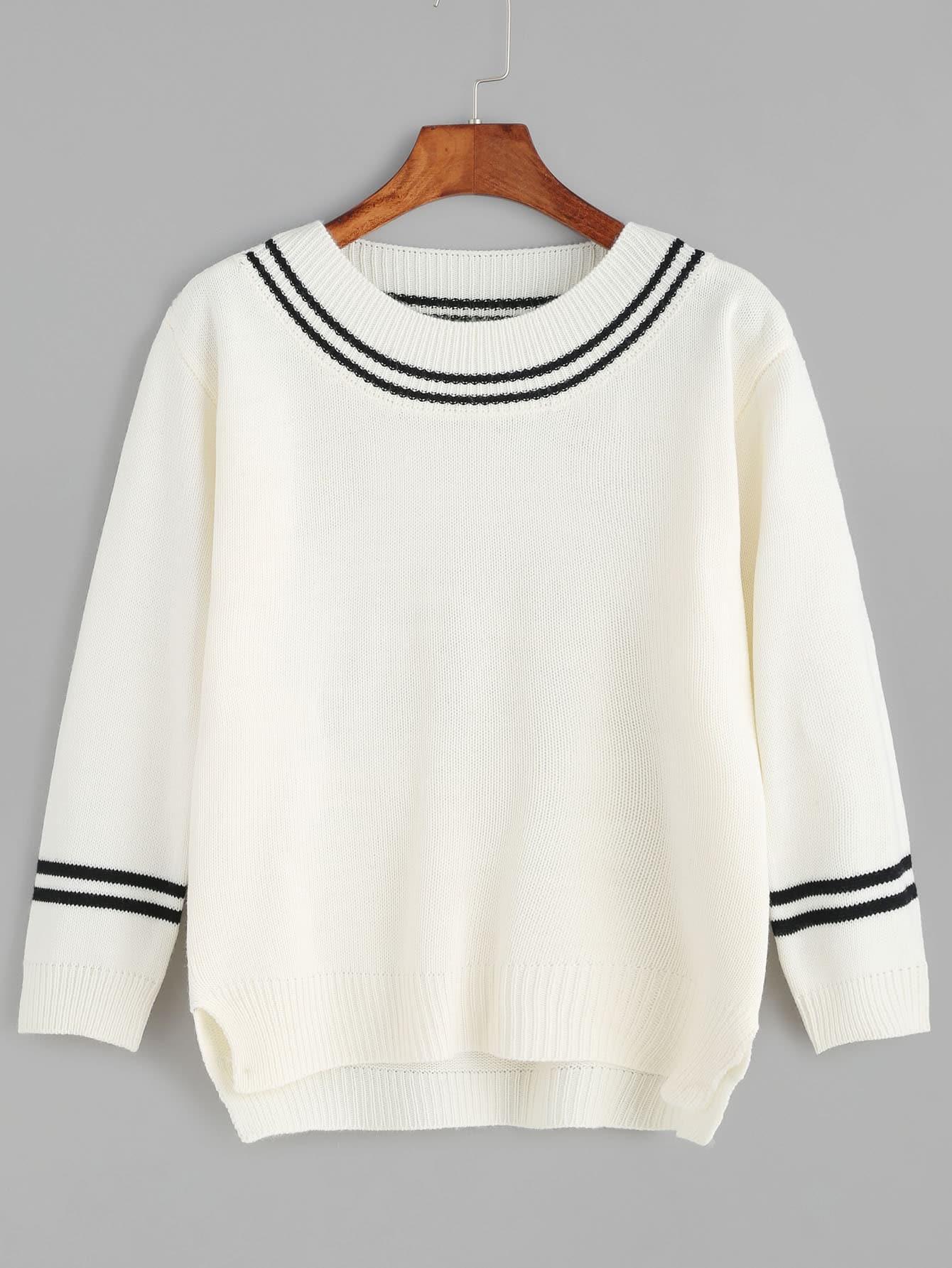 Beige Striped Trim Slit Side High Low Sweater sweater161025102