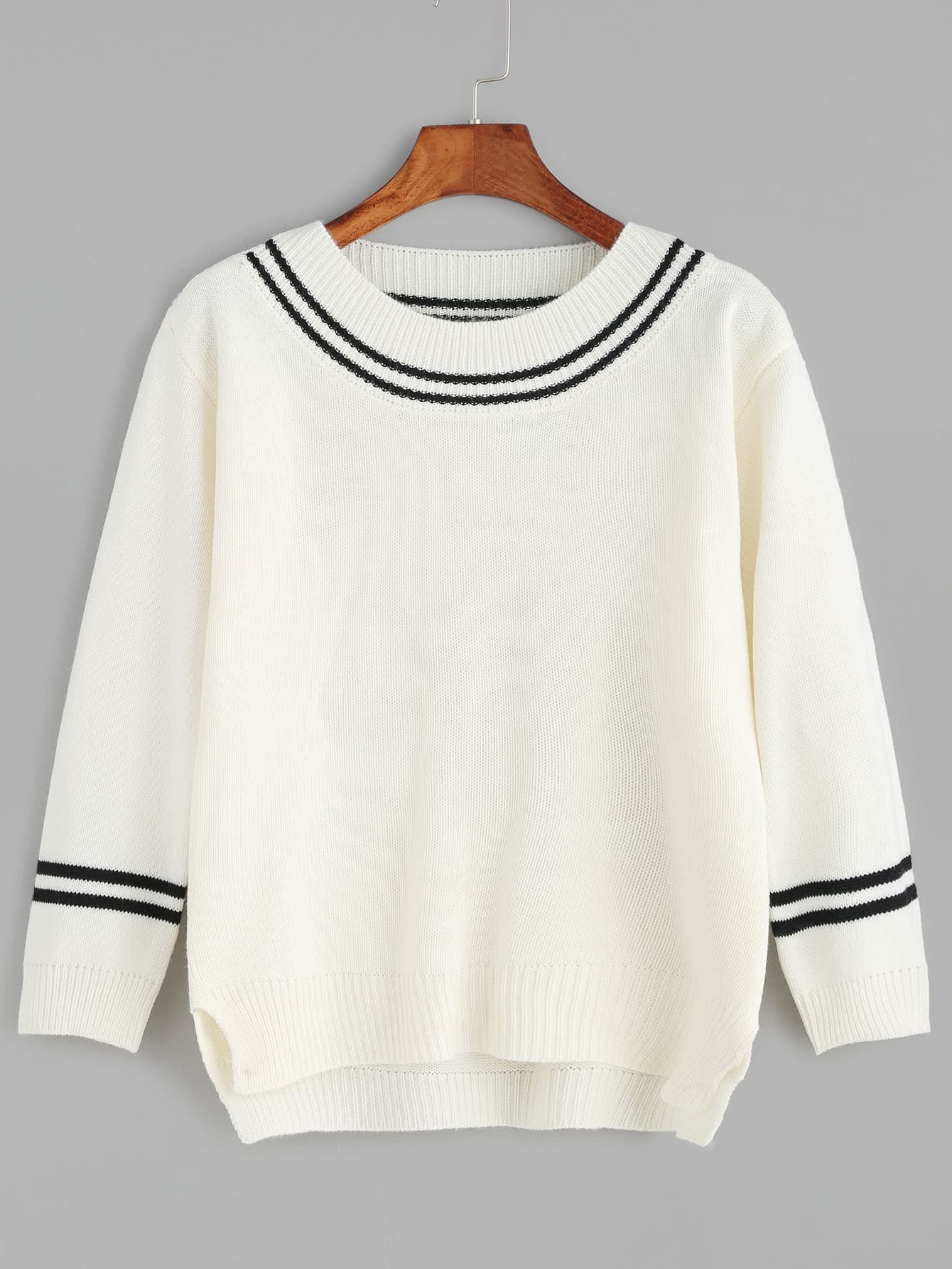 Beige Striped Trim Slit Side High Low Sweater sweater161025102