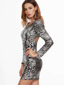 Metallic Silver Geo Sequin Open Back Bodycon Dress