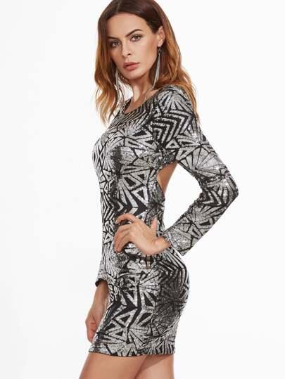 Geo Sequin Open Back Bodycon Dress