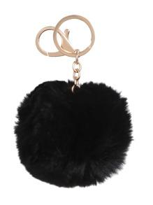 Porte-clés mignon avec pompon - noir