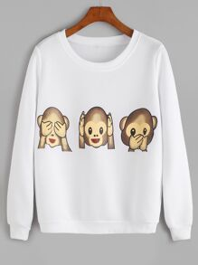 White Monkey Print Long Sleeve Sweatshirt