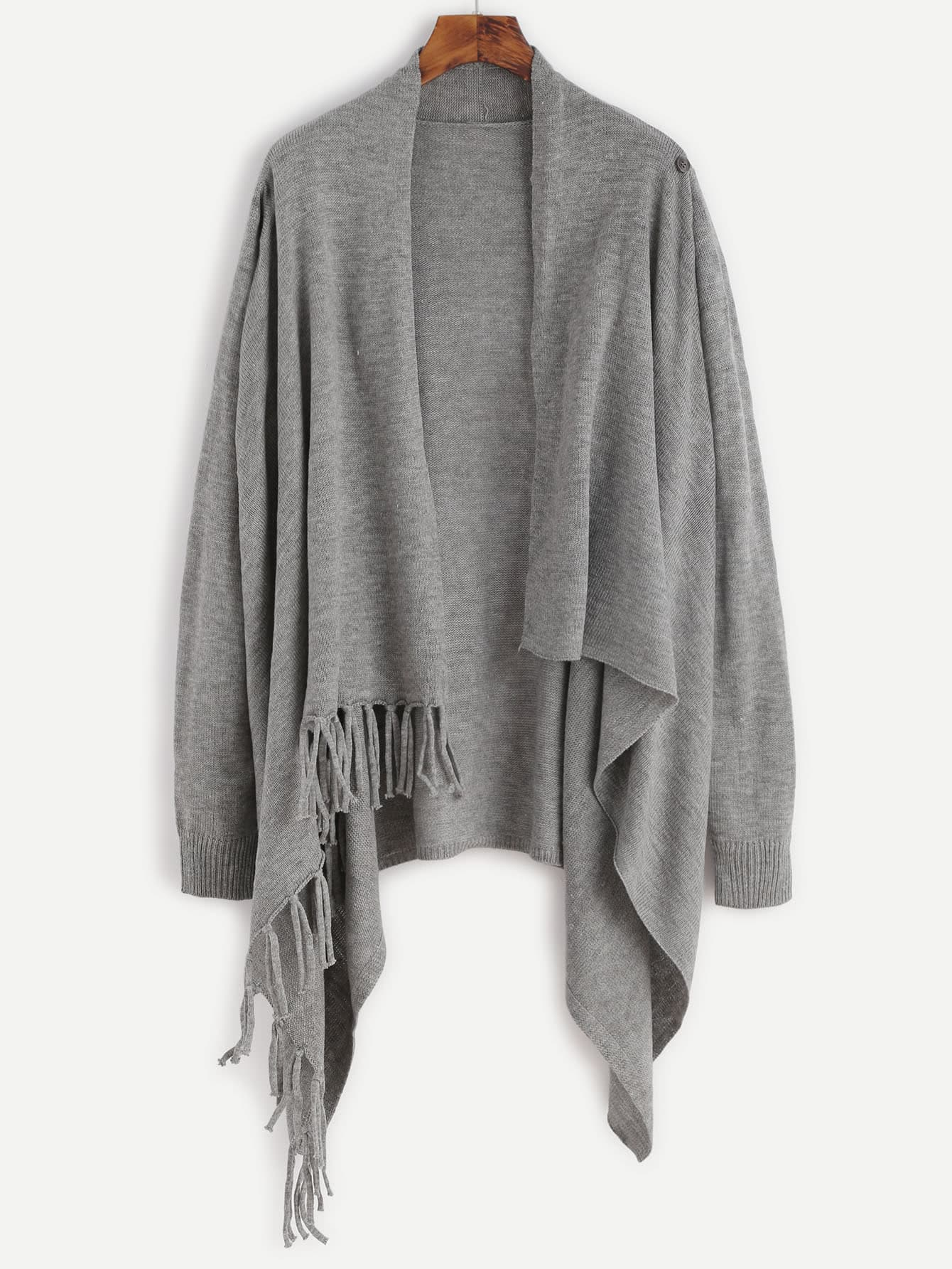 Фото Hanky Hem Open Front Tassel Sweater. Купить с доставкой