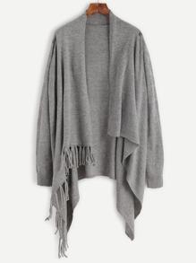Pullover Langarm mit Quaste - grau