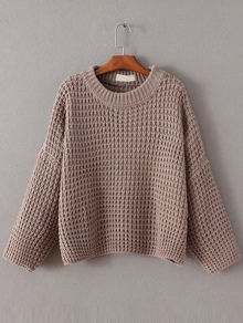 Coffee Waffle Knit Drop Shoulder Sweater