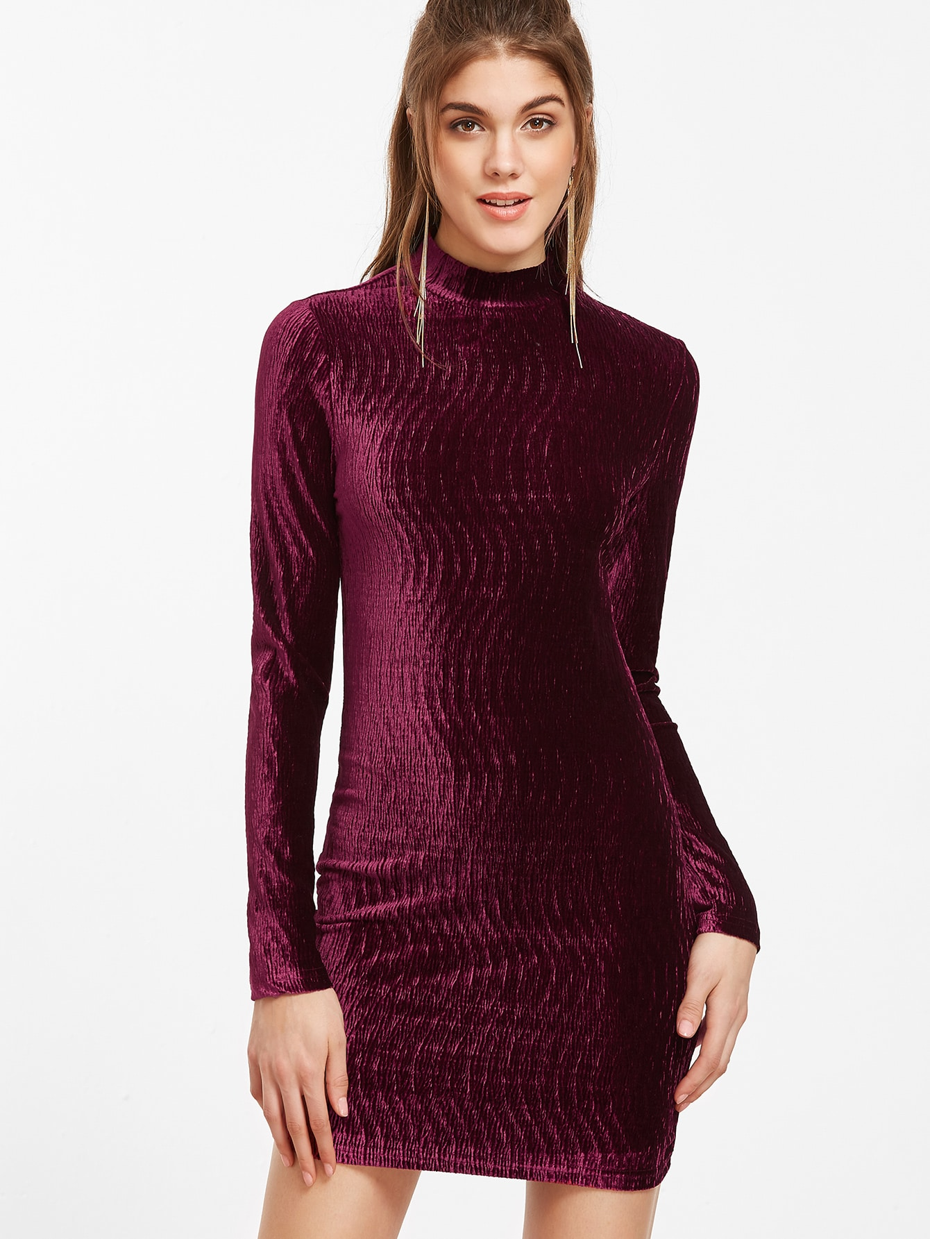 Burgundy Mock Neck Keyhole Back Textured Velvet DressBurgundy Mock Neck Keyhole Back Textured Velvet Dress<br><br>color: Burgundy<br>size: L,M,S,XS