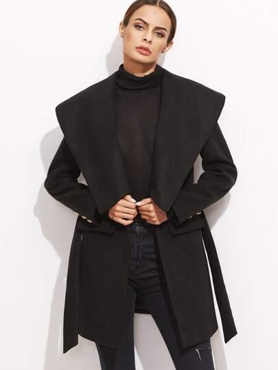 Black Shawl Collar Self Tie Coat With Pockets