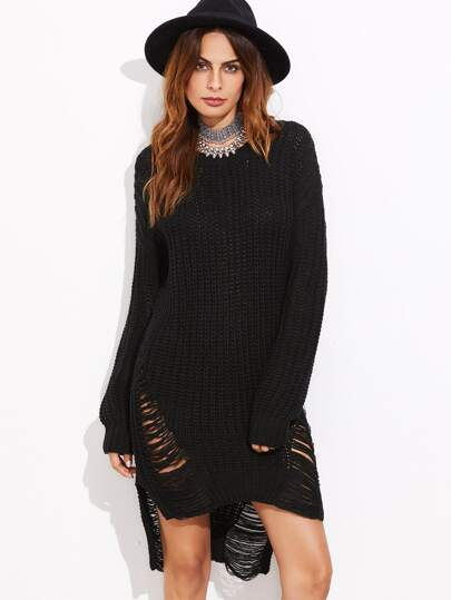 Ripped Dip Hem Chunky Knit Sweater Dress