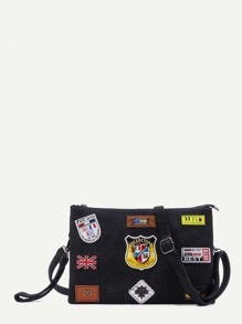 Black Logo Patch Zip Closure Crossbody Bag
