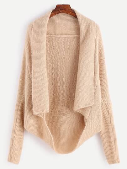 Pale Khaki Shawl Collar Poncho Sweater