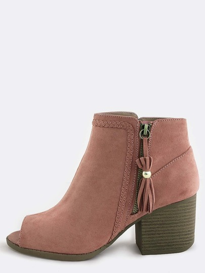 Suede Block Heel Braided Boots MAUVE