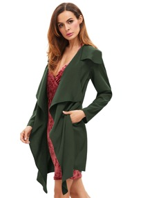 Green Draped Neck Long Sleeve Coat