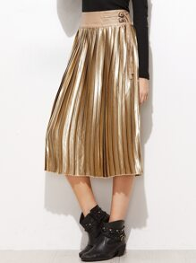Gold Faux Leather Contrast Buckled Waist Pleated Skirt