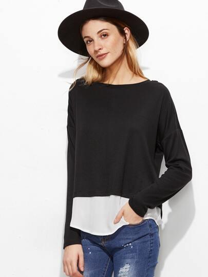T-shirt Kontrast Saum gespalten Hinten-schwarz