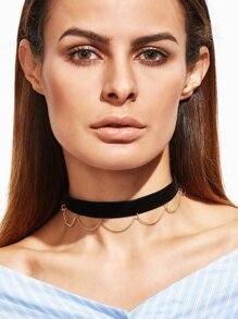Black Metal Chain Fringe Choker Necklace