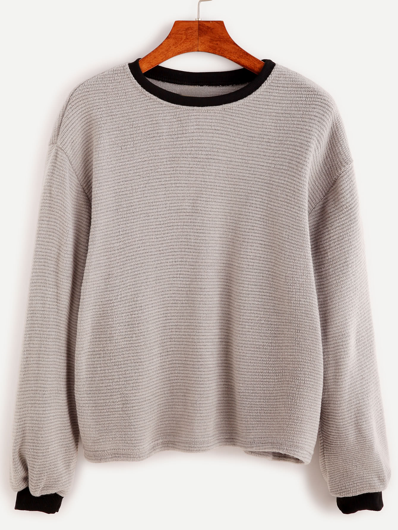 Contrast Trim Drop Shoulder Ribbed Sweater sweater161006102