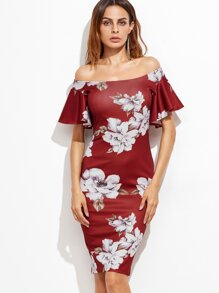 Burgundy Flower Print Flutter Sleeve Two Way Dress