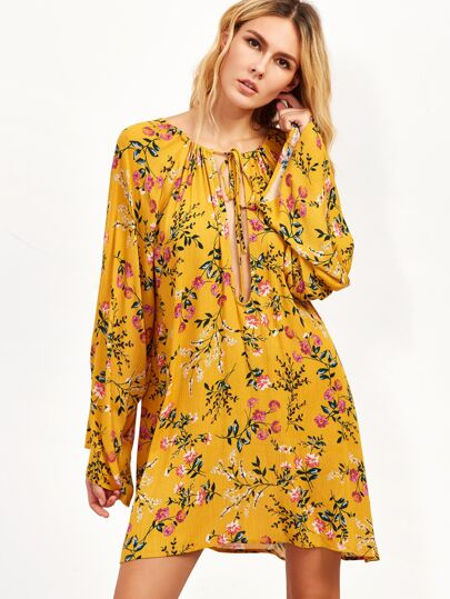 Yellow Flower Print Tie Detail Shift Dress