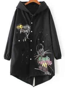 Black Graffiti Print Hooded Dip Hem Coat