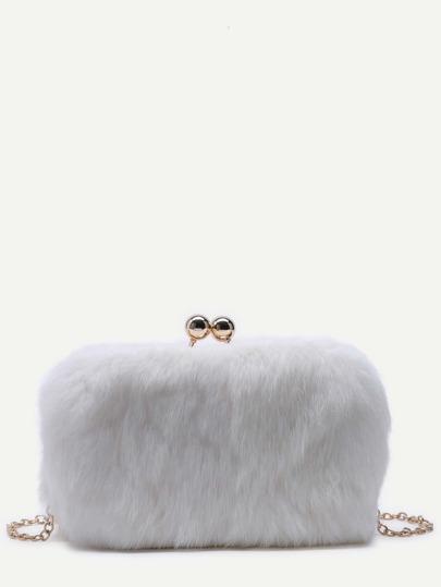 White Rabbit Hair Crossbody Chain Bag