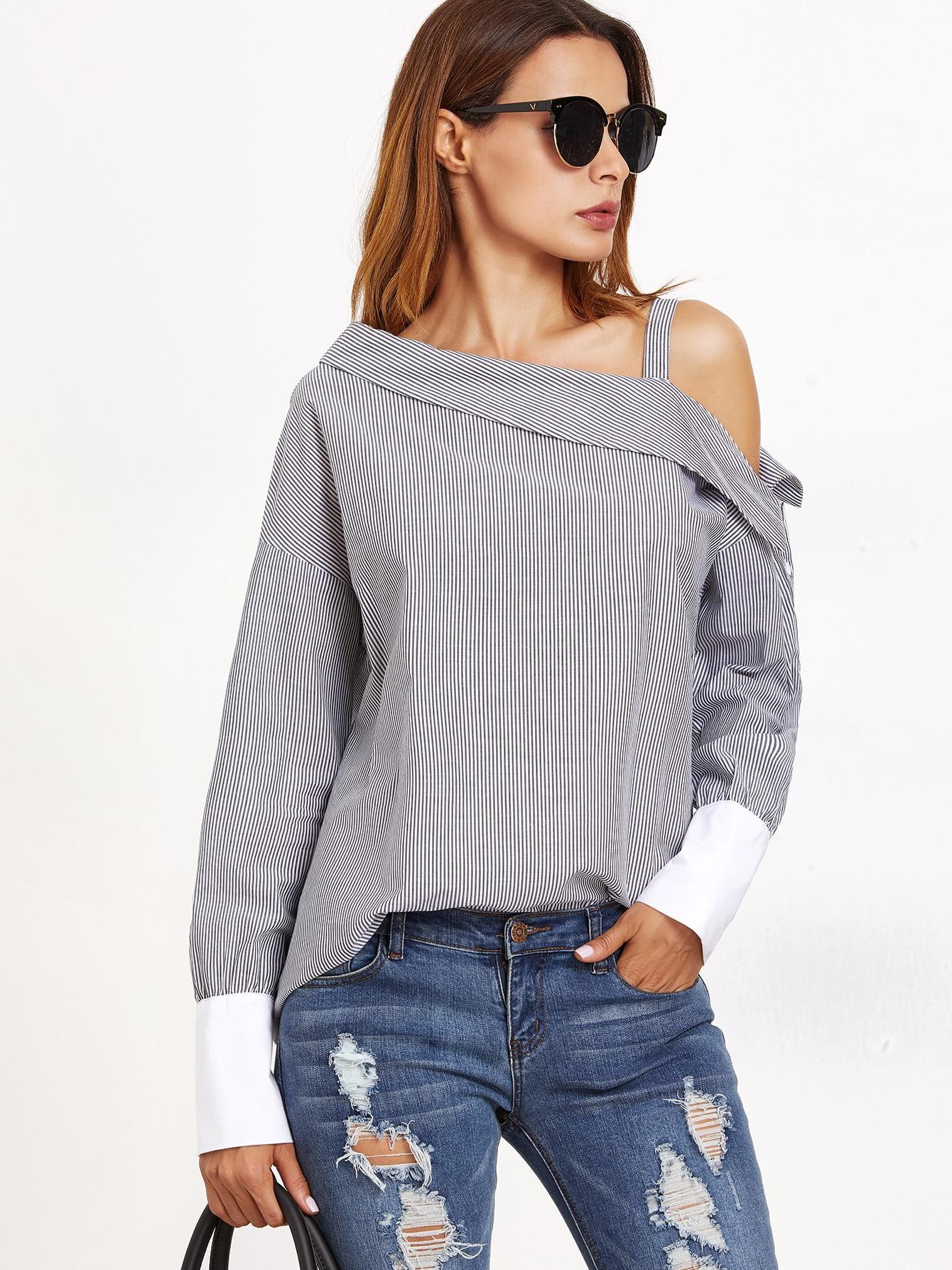 Asymmetric Open Shoulder Striped Contrast Cuff Blouse striped asymmetric buttoned neck blouse