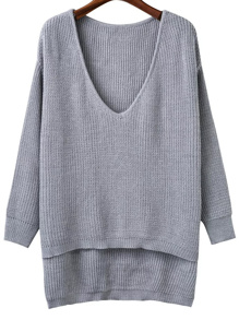Jersey asimétrico con escote V - gris