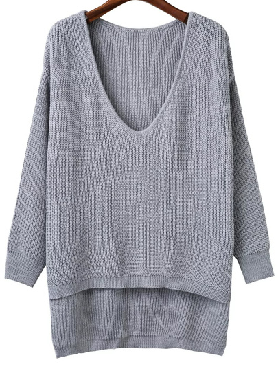 Grey V Neck High Low Knitwear