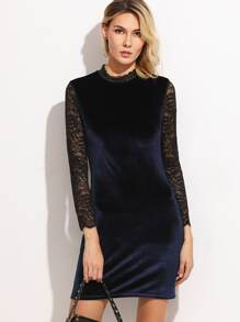 Contrast Lace Sleeve Keyhole Back Velvet Dress