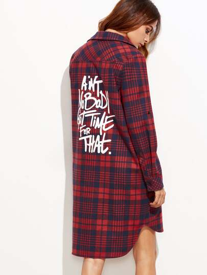 Red And Navy Plaid Letter Print High Low Shirt Dress