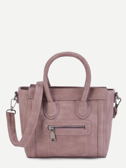 Front Zipper Handbag With Strap